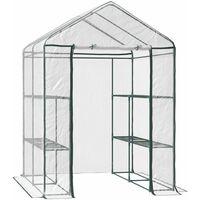 Serre de jardin balcon terrasse 4 étagères 143L x 143l x 195H cm acier PVC imperméable anti-UV transparent vert - Transparent
