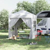 Tonnelle de jardin tente pliante barnum pop-up 2 x 2 m 4 parois latérales amovibles 2 fenêtres sac de transport pour camping, festival, plage, jardin, blanc - Blanc