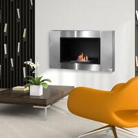 Cheminée bioéthanol murale design Bauhaus 1 brûleur 1,5 L couverture 20-25 m² acier inox brossé - Gris