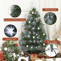 Sapin de Noël artificiel lumineux fibre optique LED + 20 ampoules + support pied Ø 63 x 120H cm 130 branches étoile sommet brillante vert - Vert