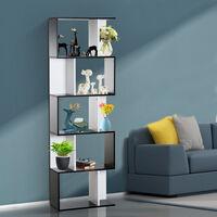 Bibliothèque étagère meuble de rangement design contemporain en S 5 étagères 60L x 24l x 185H cm noir blanc - Noir