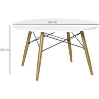 Table basse ronde design scandinave dim. Ø 80 x 45H cm métal MDF blanc - Blanc