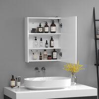 Miroir lumineux LED armoire murale design de salle de bain 2 en 1 dim. 50L x 15l x 60H cm MDF blanc - Blanc