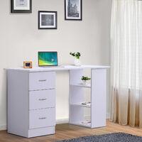 Bureau informatique table multi-fonctions 3 tiroirs 2 étagères dim. 120L x 49l x 72H cm MDF blanc - Blanc