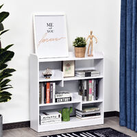 Bibliothèque étagère meuble de rangement dim. 90L x 24l x 91H cm 4 niveaux 3 panneaux arrières panneaux de particules blanc - Blanc