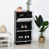Meuble à chaussures 3 portes abattantes 3 compartiments MDF noir blanc laqué - Blanc