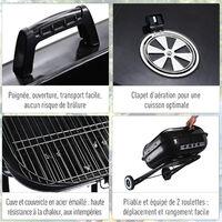Barbecue à charbon pliable BBQ grill sur pied avec couvercle et roulettes dim. 57L x 70l x 86H cm acier émaillé noir - Noir