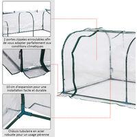 Serre de jardin tunnel 2L x 1l x 0,8H m tente bâche transparent acier - Transparent