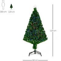 Sapin de Noël artificiel lumineux fibre optique multicolore + support pied Ø 60 x 120H cm 130 branches étoile sommet brillante vert - Vert