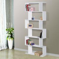 Bibliothèque étagère zig zag design contemporain 80L x 23l x 192H cm 6 niveaux blanc - Blanc