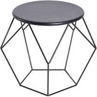 Table basse ronde design industriel néo-rétro dim. 51L x 51l x 44H cm plateau Ø 40 cm acier noir - Noir