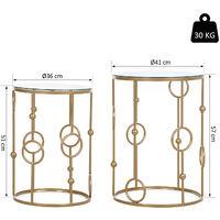 Tables gigognes lot de 2 tables basses rondes design style art déco Ø 41 et Ø 36 cm métal doré verre trempé 5 mm - Doré
