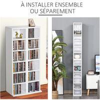 Lot de 2 étagères colonnes armoire de rangement CD 6 + 6 compartiments blanc dim. 21L x 22,5l x 88,5H cm - Blanc