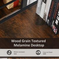 Bureau informatique design industriel bureau d'angle 2 tablettes support CPU imprimante MDF aspect vieux bois métal noir - Marron