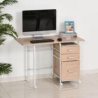 Table de Bureau Table d'Ordinateur Design Pliable avec Roulettes Panneaux de Particules 105 x 50 x 74 cm Bois Naturel - Beige