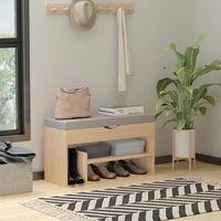 Meuble chaussures banc à chaussures 2 niveaux rangement, niche + coffre intégré avec coussin beige gris - Beige