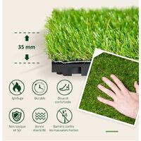 Gazon synthétique artificiel set de 10 dalles carreaux 30 x 30 cm épaisseur confort 3,5 cm à emboîter vert - Vert