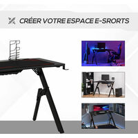 Bureau gaming bureau gamer bureau informatique bracket support casque porte-gobelet et tapis souris fournis métal MDF noir rouge - Noir