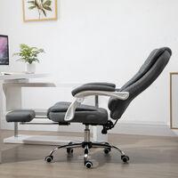 Fauteuil de bureau manager grand confort repose-pied dossier inclinable accoudoirs rembourrés lin gris - Gris