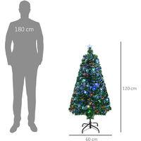 Sapin de Noël artificiel lumineux fibre optique LED multicolore + support pied Ø 60 x 120H cm 130 branches étoile sommet brillante vert - Vert