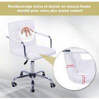 Chaise de bureau fauteuil manager pivotant hauteur réglable revêtement synthétique capitonné blanc - Blanc