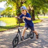Trottinette patinette enfants à partir de 5 ans pneus 30 cm guidon réglable poignée frein et béquille acier noir - Noir