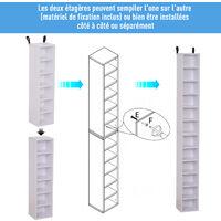 Lot de 2 étagères colonnes armoire de rangement CD-DVD 6 + 6 compartiments dim. 21L x 19l x 88H cm capacité max. 204 CD blanc - Blanc