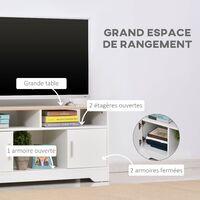 Meuble TV Banc TV en Bois Grand Espace de Rangement avec 2 Compartiments Ouverts 2 Armoires à Porte Une Armoire Ouverte 105 x 40 x 52 cm Blanc - Blanc