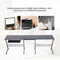 Bureau d'angle bureau informatique design moderne métal MDF imitation veinage bois noir - Noir