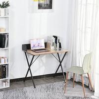 Bureau secrétaire style industriel dim. 90L x 50l x 84H cm châssis métal gris foncé plateau panneaux particules chêne clair - Beige