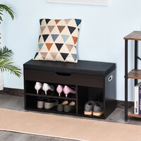 Meuble chaussures banc à chaussures 2 niveaux rangement, niche + coffre intégré avec coussin noir - Noir