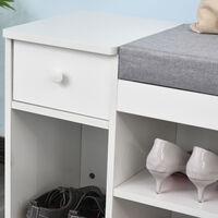 Meuble chaussures banc à chaussures 2 niveaux rangement, niche, tiroir, coffre intégré avec coussin gris blanc - Blanc