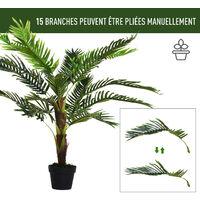 Palmier artificiel hauteur 123 cm arbre artificiel décoration plastique fil de fer pot inclus vert - Vert
