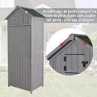 Armoire abri de jardin remise pour outils 3 étagères 2 porte loquets toit pente bitumé 77L x 54l x 179H cm sapin traité gris - Gris