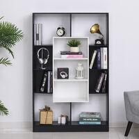 Bibliothèque étagère meuble de rangement design contemporain panneaux particules E1 bicolore noir blanc - Noir