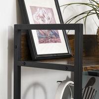 Étagère bibliothèque design contemporain 5 niveaux dim. 64L x 30l x 158H cm panneaux particules aspect vieux bois métal noir - Marron