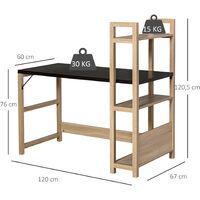 Bureau bibliothèque 2 en 1 - 3 étagères - bicolore imitation bois chêne clair noyer foncé - Beige