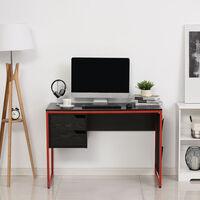 Bureau gaming bureau gamer bureau informatique 2 tiroirs 4 poches latérales métal rouge panneaux particules noir - Noir