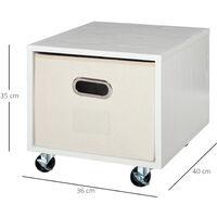 Caisson de bureau rangement bureau sur roulettes tiroir lin beige avec porte-étiquette panneaux particules blanc - Blanc