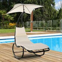 Bain de soleil transat à bascule design contemporain avec pare-soleil, matelas grand confort, tétière métal époxy noir polyester crème - Crème