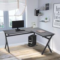 Bureau d'angle informatique design contemporain 155L x 130l x 76H cm MDF acier noir - Noir