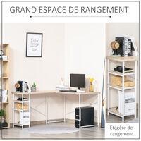 Bureau d'angle bureau informatique multimédia 3 étagères métal blanc MDF aspect bois chêne clair - Beige