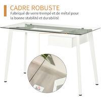 Bureau informatique multimédia design contemporain tiroir coulissant MDF plateau verre trempé châssis métal blanc - Blanc