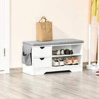 Meuble chaussures et banc à chaussures avec coussin gris 2 étagères et 2 tiroirs MDF 80,5 x 30,5 x 43,5 cm gris et blanc - Blanc