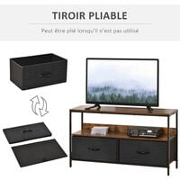Meuble TV bas sur pieds style industriel 2 tiroirs en tissu gris MDF marron rustique et métal noir - Marron