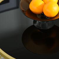 Table basse ronde design style art déco Ø 65 x 40H cm plateau verre trempé noir châssis acier doré - Noir