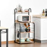 Étagères de cuisine - étagère micro-onde - meuble micro-onde - 3 étagères, plateau, crochets - panneaux particules aspect chêne clair châssis métal noir - Beige