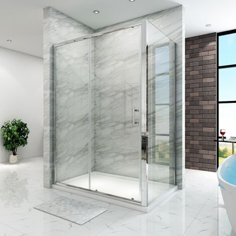 SIRHONA Cabine de douche 100x70x185 cm - verre trempé - cadre en aluminium - porte coulissante extensible avec porte latérale
