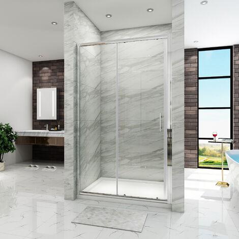 SIRHONA Porte de douche Coulissante 120x185 cm paroi de douche avec Receveur de douche 120x80 cm