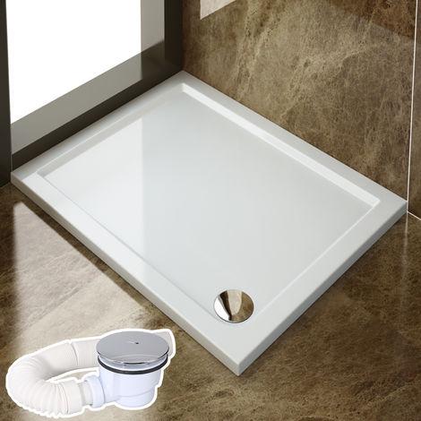 SIRHONA Receveur de douche 120x80x4 cm bac a douche rectangulaire blanc avec Raccord de vidange 01